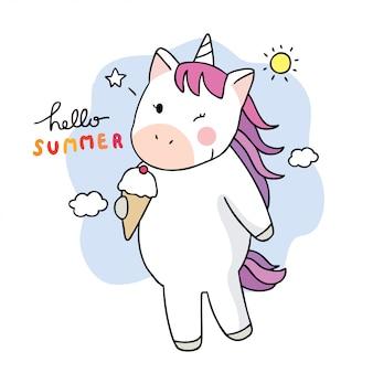 Kreskówka słodkie lato, jednorożec jeść lody.