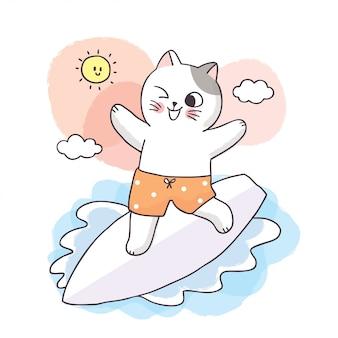 Kreskówka słodkie letnie koty i surfing.