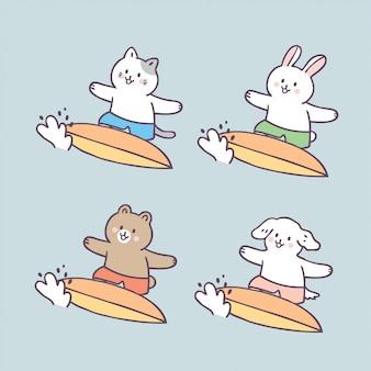 Kreskówka słodkie letnie zwierzęta i surfing