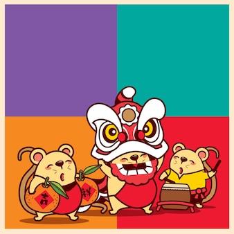 Kreskówka słodkie myszy świętujące chiński nowy rok z pokazem tańca lwa