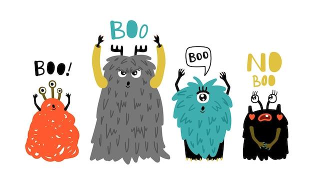 Kreskówka słodkie potwory boo. małe futrzane symbole horroru, ilustracja wektorowa zabawnych dziwnych postaci dla maskotki na białym tle