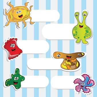 Kreskówka słodkie potwory - naklejki wektor zestaw do projektowania