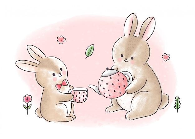 Kreskówka słodkie słodkie króliki, pić herbatę.