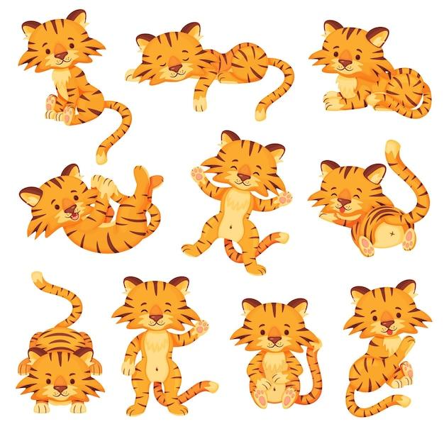 Kreskówka słodkie tygrysy szczęśliwe małe tygrysy wektor zestaw