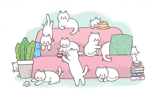 Kreskówka słodkie urocze białe koty bawiące się na różowej kanapie