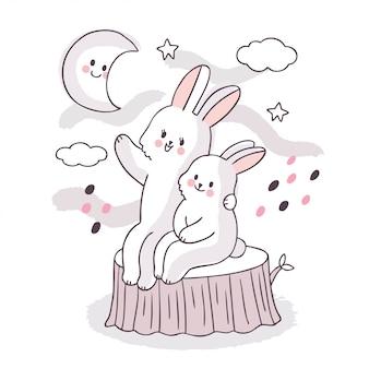 Kreskówka słodkie urocze rodziny białe króliki siedząc i patrząc gwiazda na niebie
