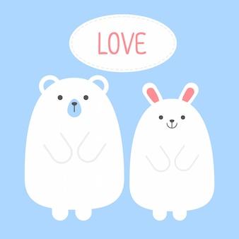 Kreskówka słodkie walentynki para zwierząt misia i króliczek królik