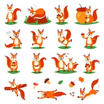 Kreskówka słodkie wiewiórki. małe śmieszne wiewiórki. na na białym tle.