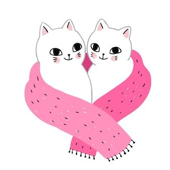 Kreskówka słodkie zimowe koty para i szalik