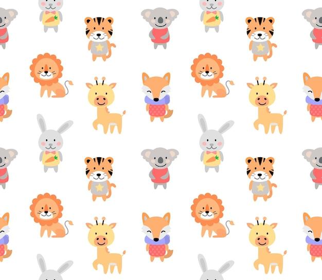 Kreskówka słodkie zwierzęta dla dziecka bez szwu wzór