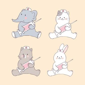 Kreskówka słodkie zwierzęta i wektor igły.