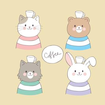 Kreskówka słodkie zwierzęta i wektor kubek kawy.
