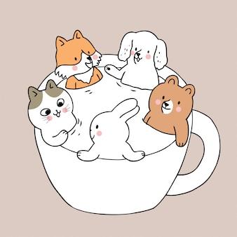 Kreskówka słodkie zwierzęta w wektor kubek.