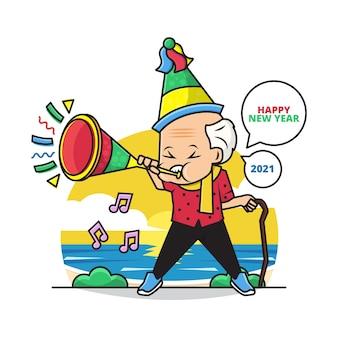 Kreskówka słodkiego dziadka w czapce na przyjęcie i trąbka życząc szczęśliwego nowego roku 2021