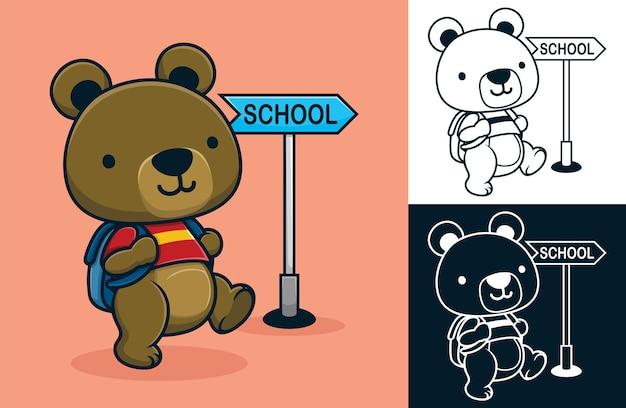 Kreskówka słodkiego misia z plecakiem idącym do szkoły