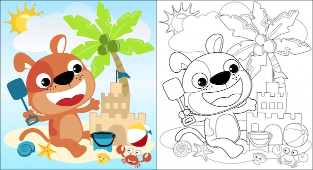Kreskówka słodkiego szczeniaka zbudować zamek z piasku na plaży podczas letnich wakacji