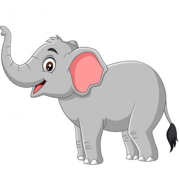 Kreskówka słoń na białym tle