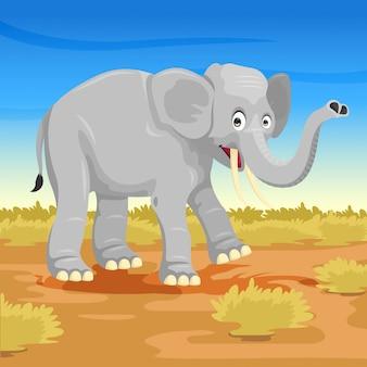 Kreskówka słoń na sawannie