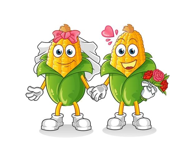 Kreskówka ślub kukurydzy. kreskówka maskotka