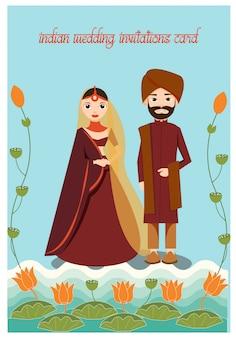 Kreskówka ślubna indyjska para w tradycyjnej sukni dekoruje z lotosem i liściem