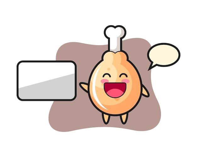 Kreskówka smażony kurczak robi prezentację