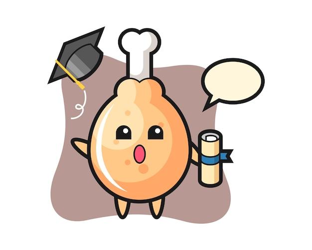 Kreskówka smażony kurczak rzuca kapelusz na ukończeniu szkoły