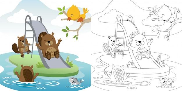 Kreskówka śmieszne bobry bawiące się na suwaku