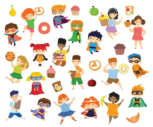 Kreskówka śmieszne dzieci przyjaciele fast food - coockie, wafel, pączek, precel, rogalik, lody w stylu płaski