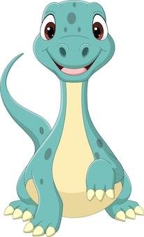 Kreskówka śmieszne dziecko brontozaura dinozaura