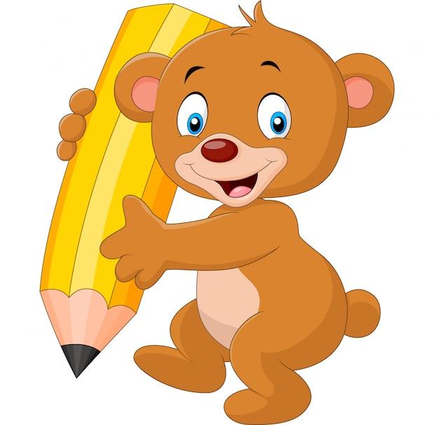 Kreskówka śmieszne niedźwiedź trzyma ołówek