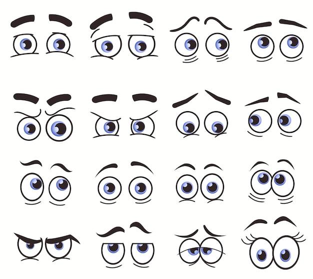 Kreskówka śmieszne oczy. twarze kreskówek. wyraziste oczy. uśmiechnięta, szczęśliwa, płacząca i zdziwiona postać, kolekcja komiksowych emocji. wektor zestaw