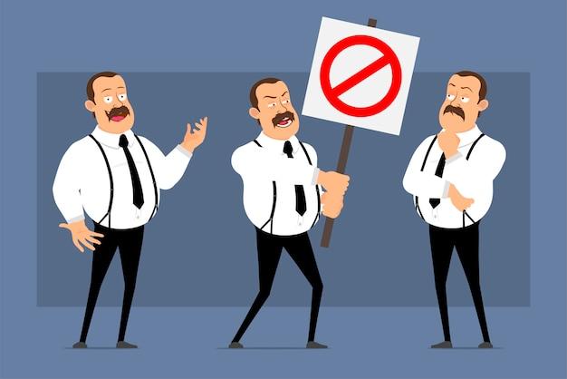 Kreskówka śmieszne postawy pracownika biurowego na białym tle na niebiesko