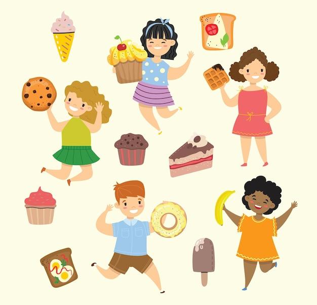 Kreskówka śmieszne przyjaciele fast food - coockie, wafel, pączek, precel, rogalik w stylu płaski