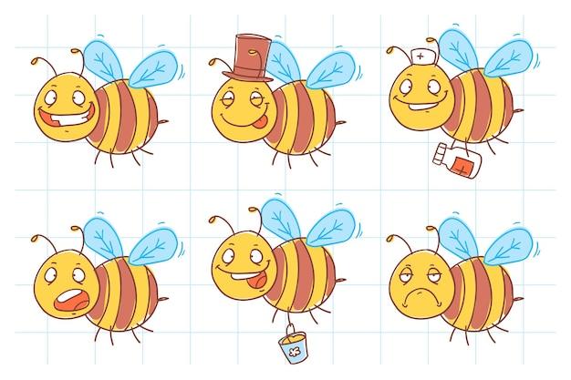 Kreskówka śmieszne pszczoły w latającym doodle pack 1. ilustracja wektorowa