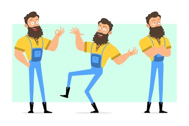 Kreskówka śmieszne silne brodaty drwal postawy