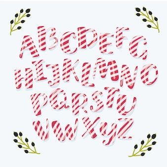 Kreskówka śmieszne świąteczne paski cukierki alfabet litery