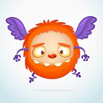 Kreskówka śmieszny potwór, ilustracja podekscytowany potwór