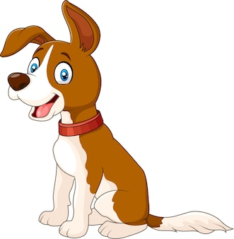 Kreskówka śmieszny psi obsiadanie odizolowywający na białym tle