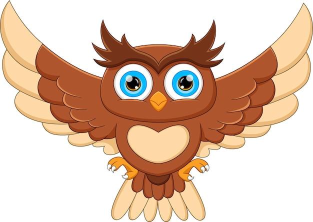 Kreskówka sowa trzepocząca skrzydłami i uśmiechnięta