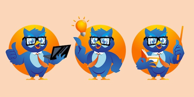 Kreskówka sowa używa projektu maskotki okularów