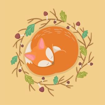 Kreskówka śpiący lis