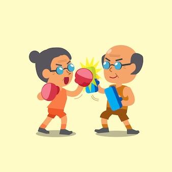 Kreskówka sport staruszka i starzec robi trening uderzeń górnych