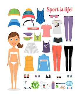 Kreskówka sportowa dziewczyna z różnymi odzieżą i sprzętem fitness, podkreślając sport to koncepcja życia. na białym tle.