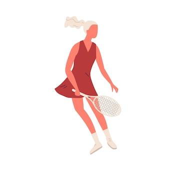 Kreskówka sportsmenka trzyma rakietę grając w tenisa na białym tle