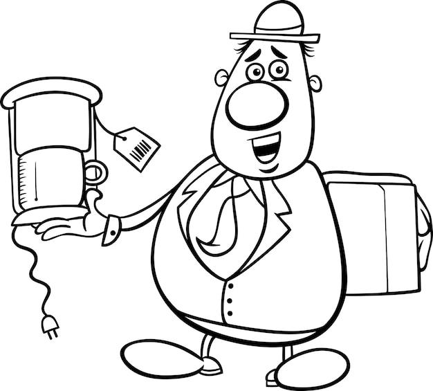 Kreskówka sprzedawca do kolorowania książki