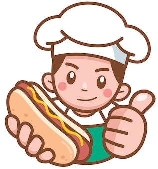 Kreskówka sprzedawca hot dogów prezentujących jedzenie