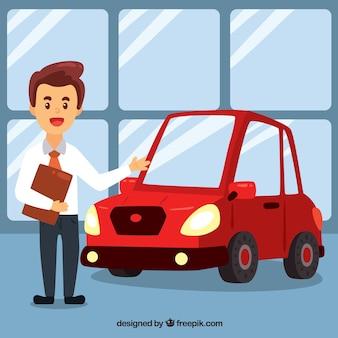 Kreskówka sprzedawca samochodów projekt