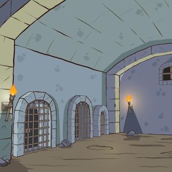 Kreskówka średniowieczny loch tło