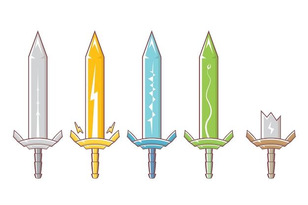 Kreskówka średniowiecznych rycerzy miecze zestaw broni
