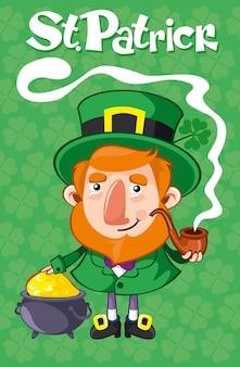 Kreskówka st patrick day plakat z fajką krasnoludek i kocioł ze złotymi monetami na ilustracji wektorowych tle zielonej koniczyny
